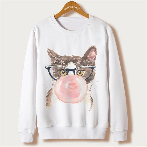Cat Print Women Sweatshirts 3