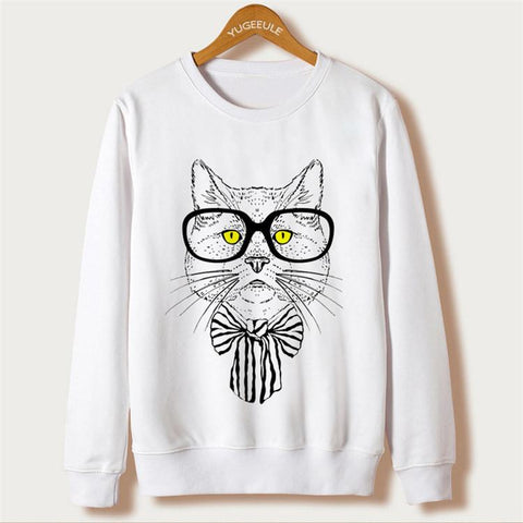 Cat Print Women Sweatshirts 8