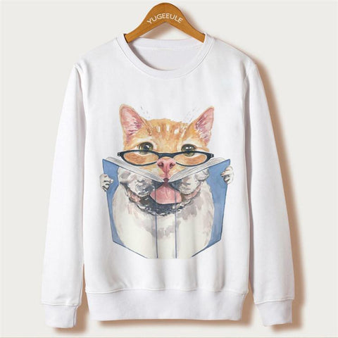 Cat Print Women Sweatshirts 4