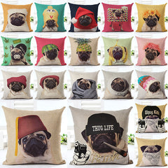Pug Wearing Hat  Home Decorative Throw Pillow Case [19 variants]