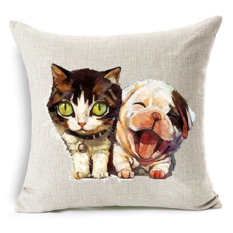 Cute Cat Dog Throw Pillow Cover [4 variants]
