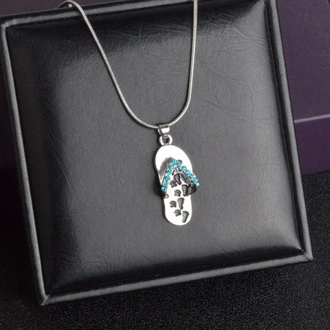 Always At Your Side footprint paw necklace