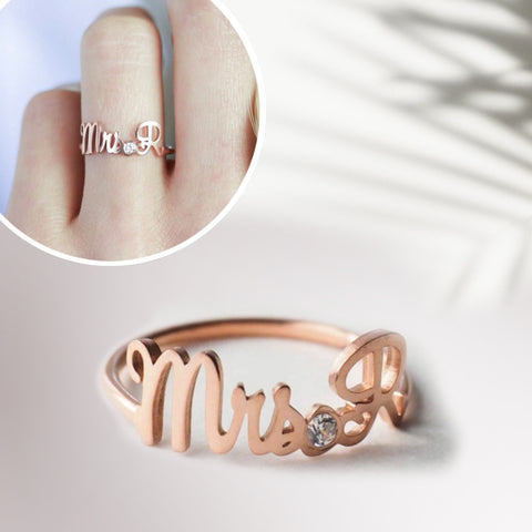 Personalized Mrs Initials - Crystal Memory Ring