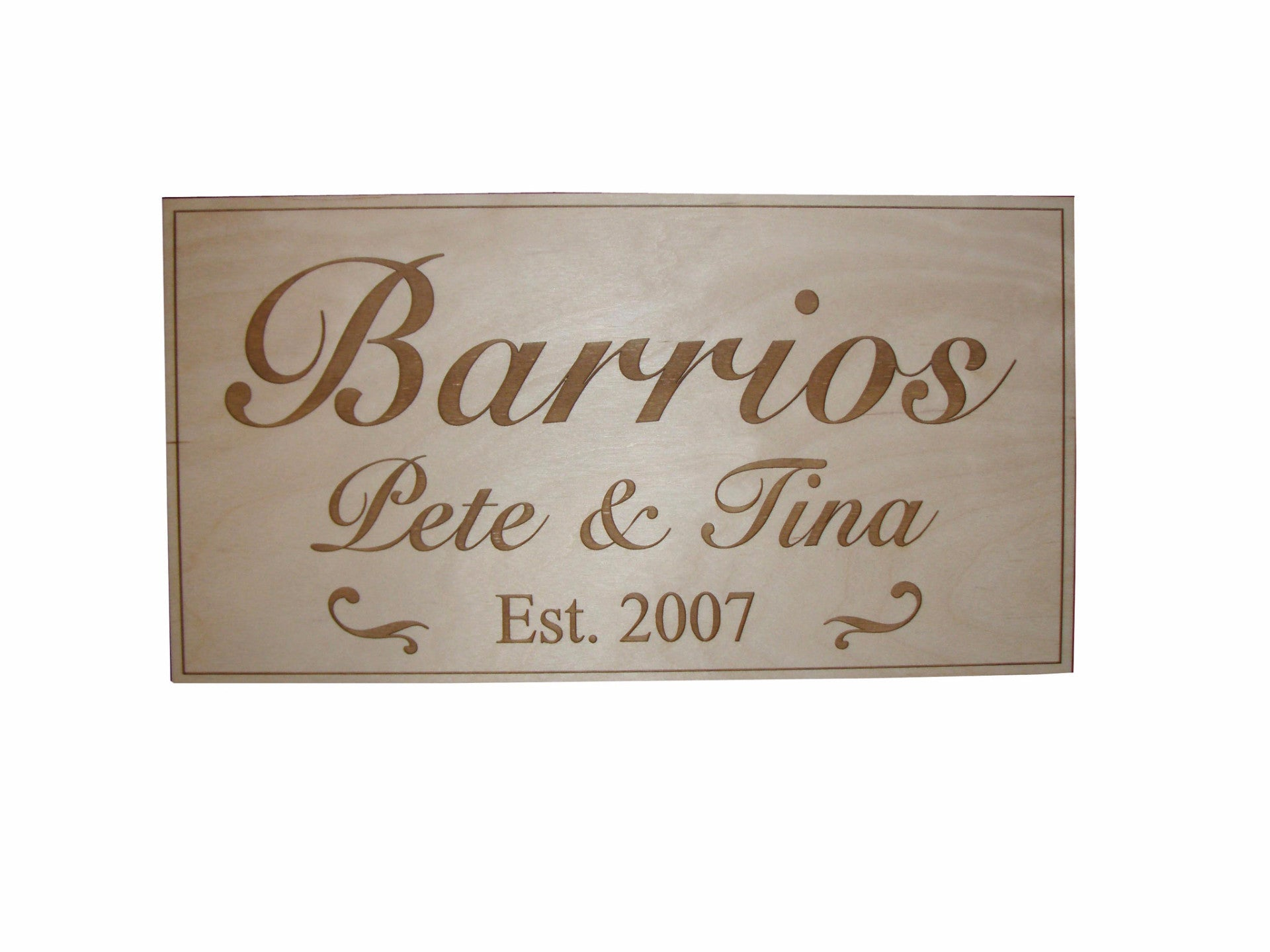 Family Name Engraved Wood Plaque