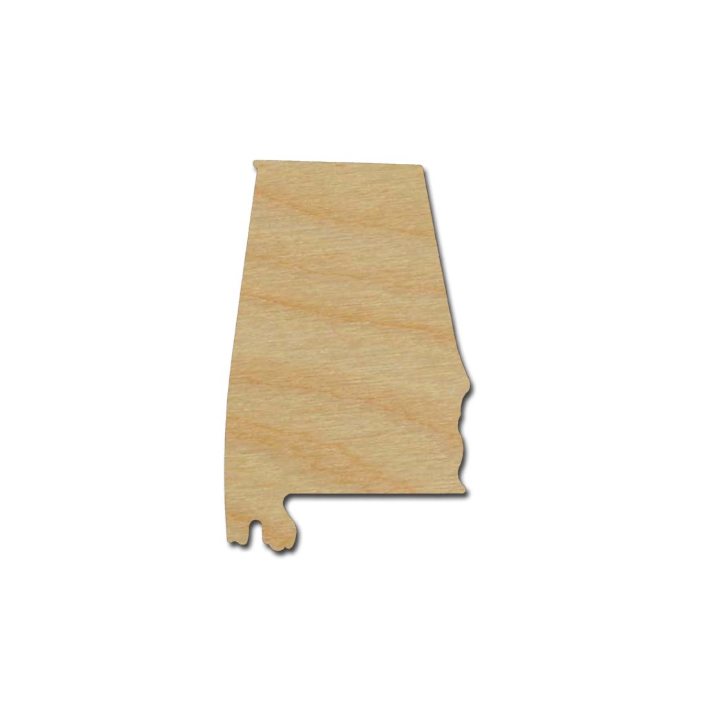 Alabama State Shape Unfinished Wood Craft Cut Out Variety Of Sizes Made In USA