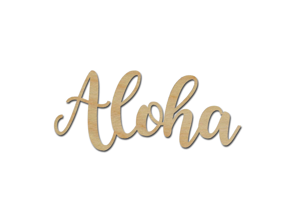 Aloha Word Unfinished Wood Cutout Connected Wooden Letters