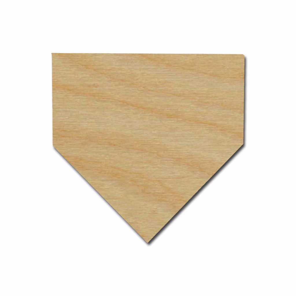 Baseball Home Plate Shape Unfinished Wood Cutout Variety of Sizes
