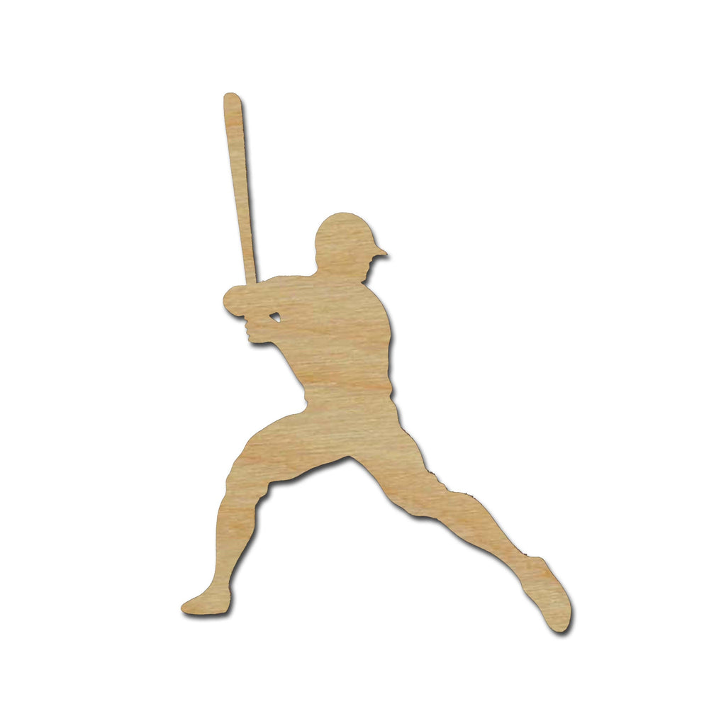 Baseball Player Shape Unfinished Wood Cutout Sports Theme Variety of Sizes #01