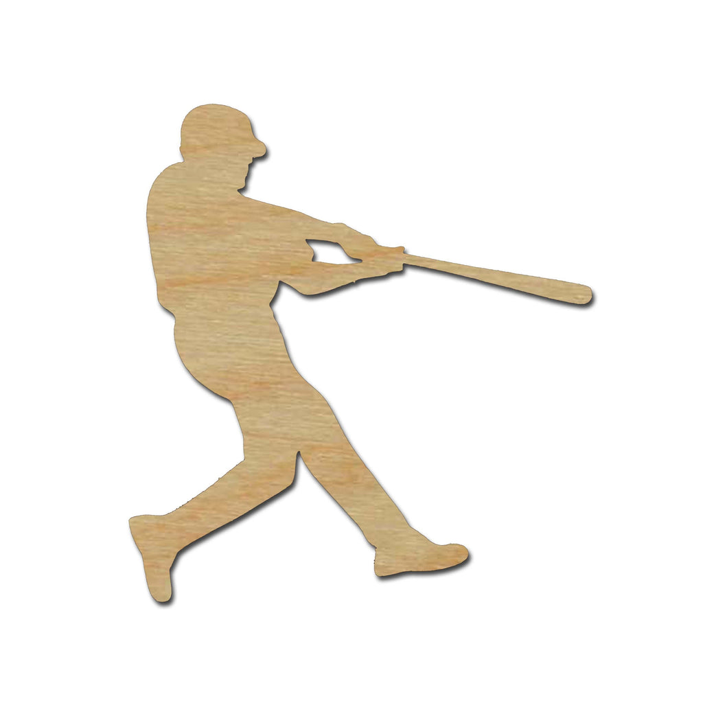 Baseball Player Shape Unfinished Wood Cutout Sports Theme Variety of Sizes #02
