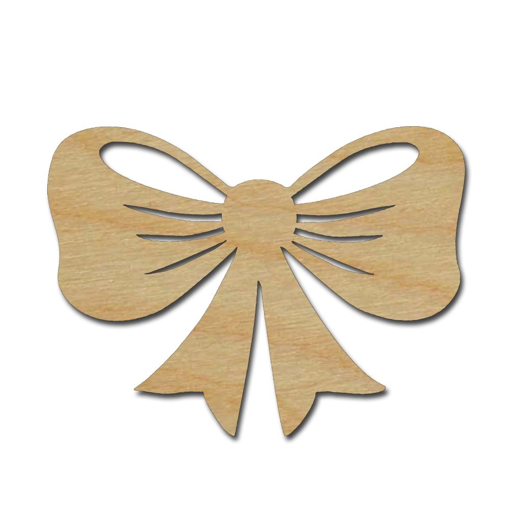 Bow Shape Unfinished Wood Craft Cutout Variety of Sizes