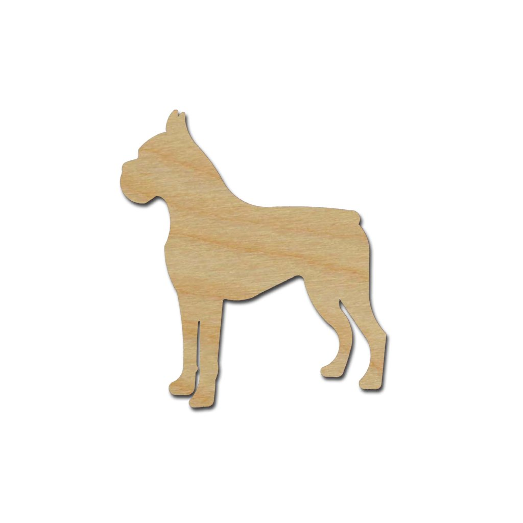 Boxer Dog  Shape Unfinished Wood Cutouts Animal Crafts Variety of Sizes