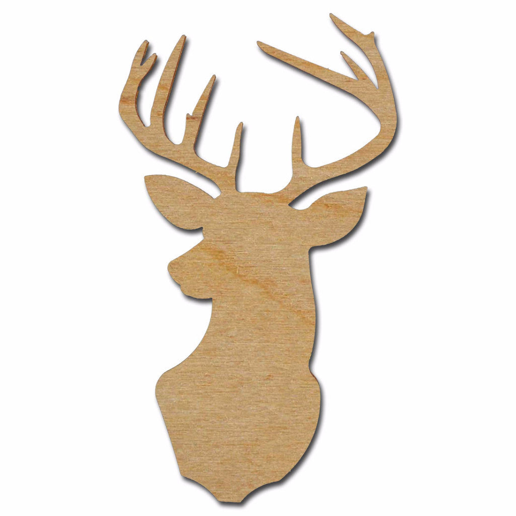 Deer Shape Cutout Unfinished Wood Buck Mount Variety of Sizes