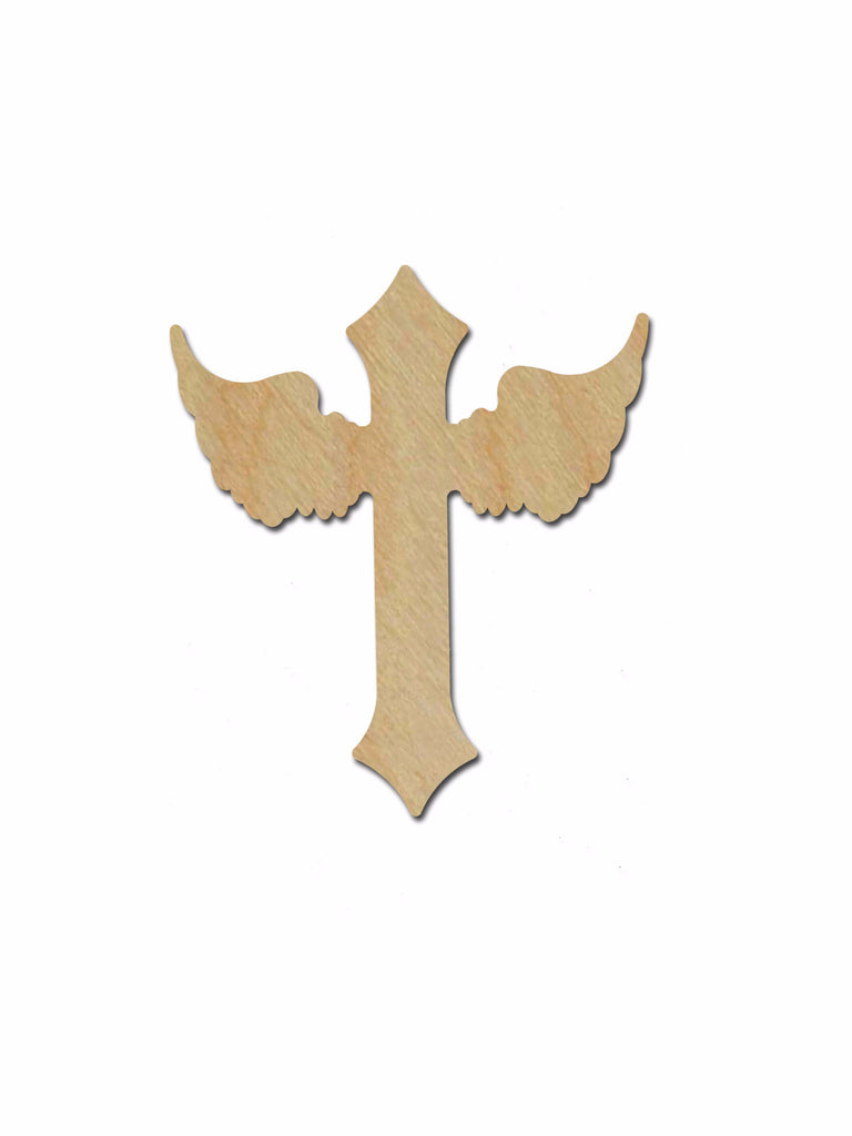 Unfinished Wood Cross Angel Wing Craft Crosses C126