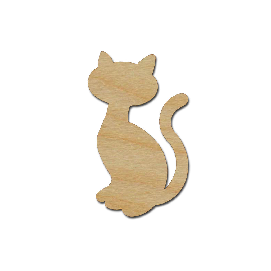 Cat Shape Unfinished Wood Cutouts Animal Crafts Variety of Sizes