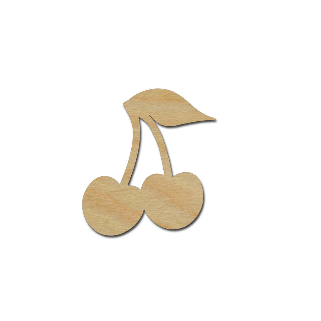 Cherry Shape Unfinished Wood Fruit Craft Cutouts Variety of Sizes