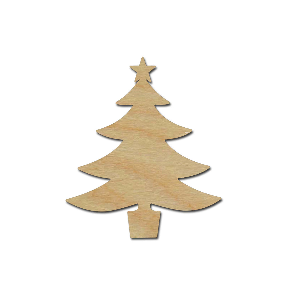 Christmas Tree With Star Shape Unfinished Wood Cutout Variety of Sizes