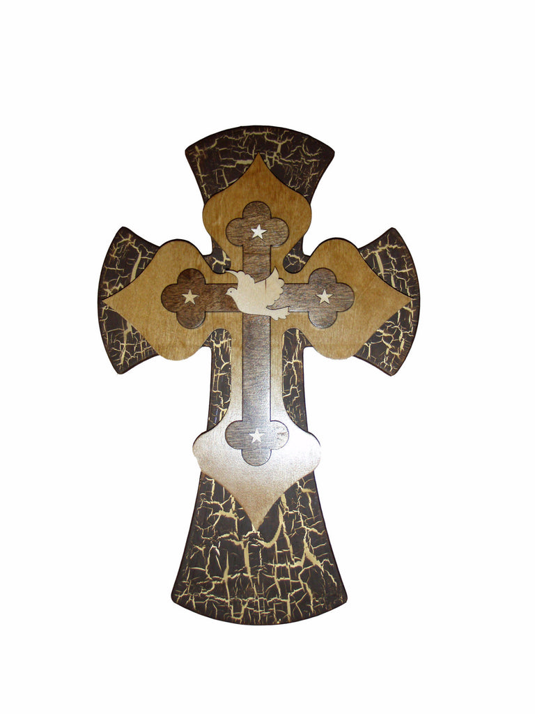 decorative wall cross 3499 dove cross decorative wooden layered wall crosses 15 inch tall artistic craft supply - Decorative Wall Crosses