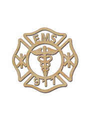 EMS Badge Wood Craft Cutout
