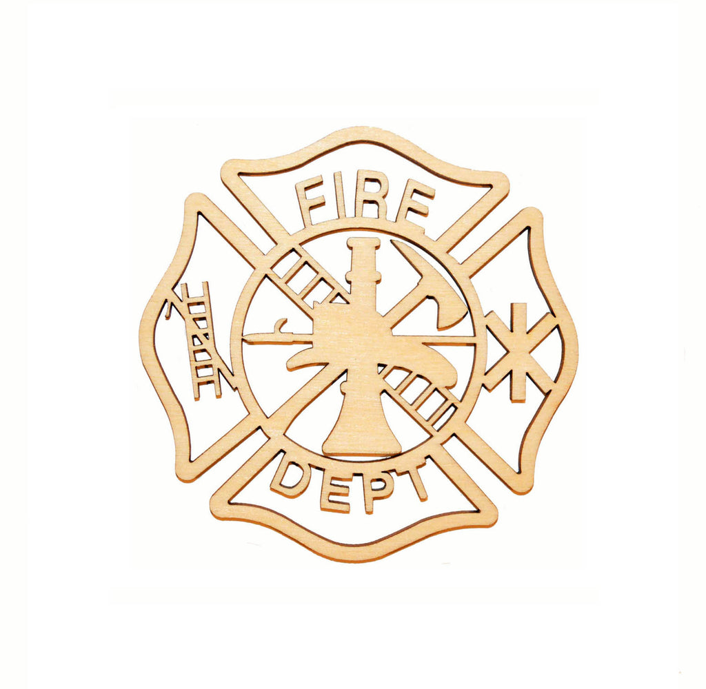 Fireman Maltese Cross Unfinished Wood Detail Cut Out Part # FIR096