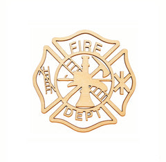 Fireman Maltese Cross Wood Cutout