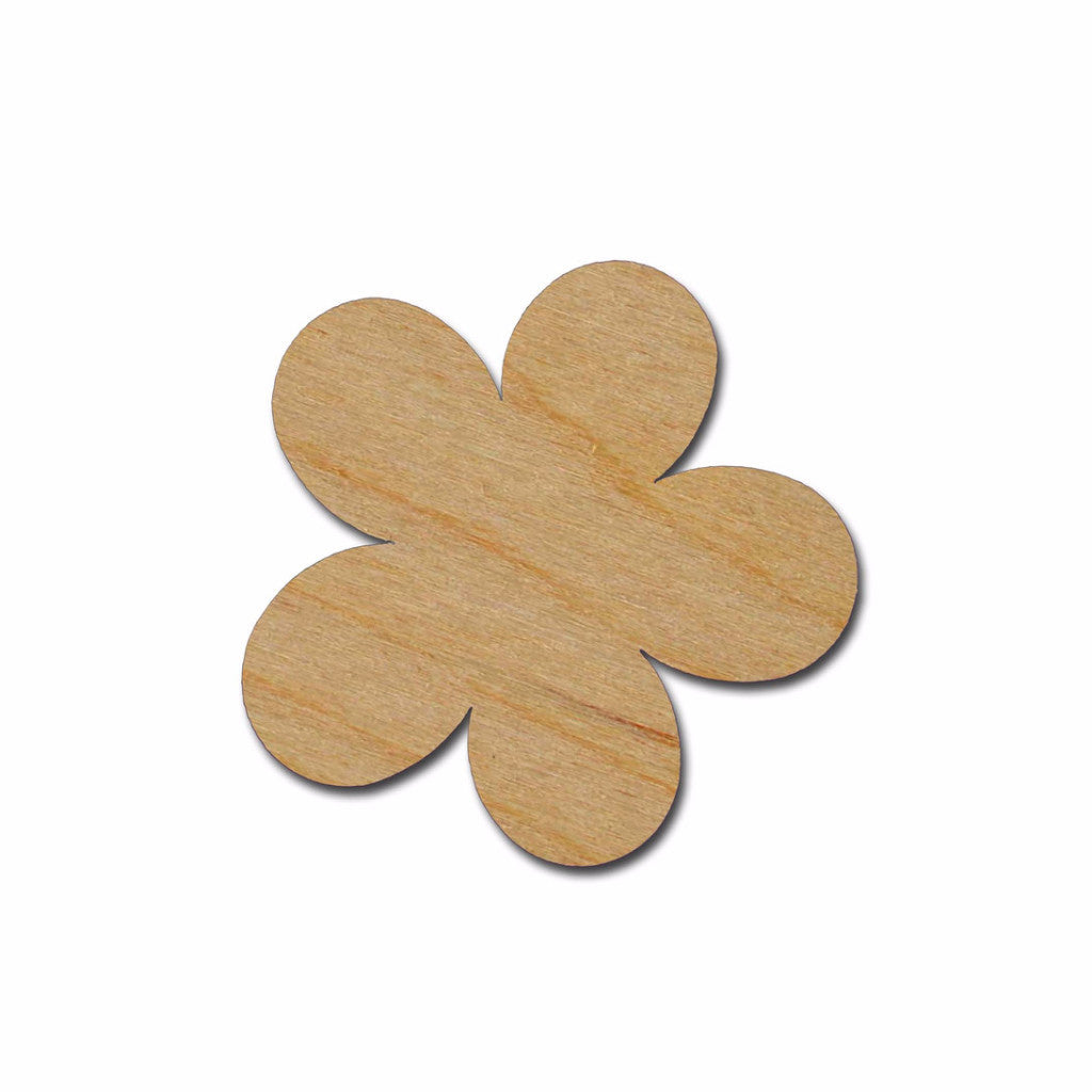 Flower Shape Unfinished Wood Craft Cutouts Variety of Sizes FLO-02