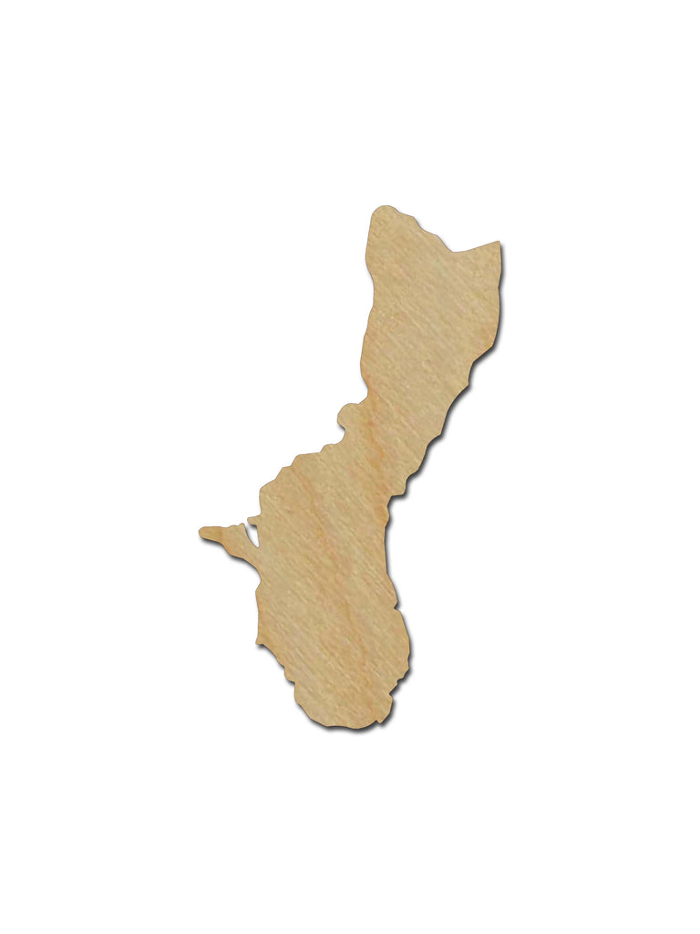 Guam Shape Unfinished Wood Craft Cutouts USA Variety of Sizes