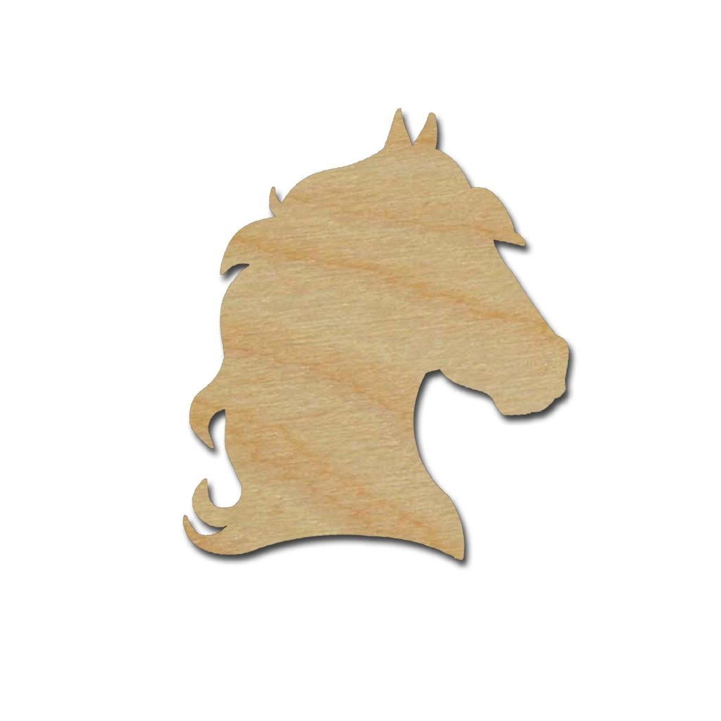 Horse Head Shape Unfinished Wood Craft Cutouts Variety of Sizes