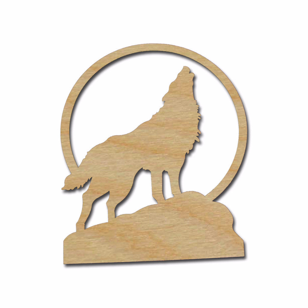 Howling Wolf Unfinished Wood Cutout