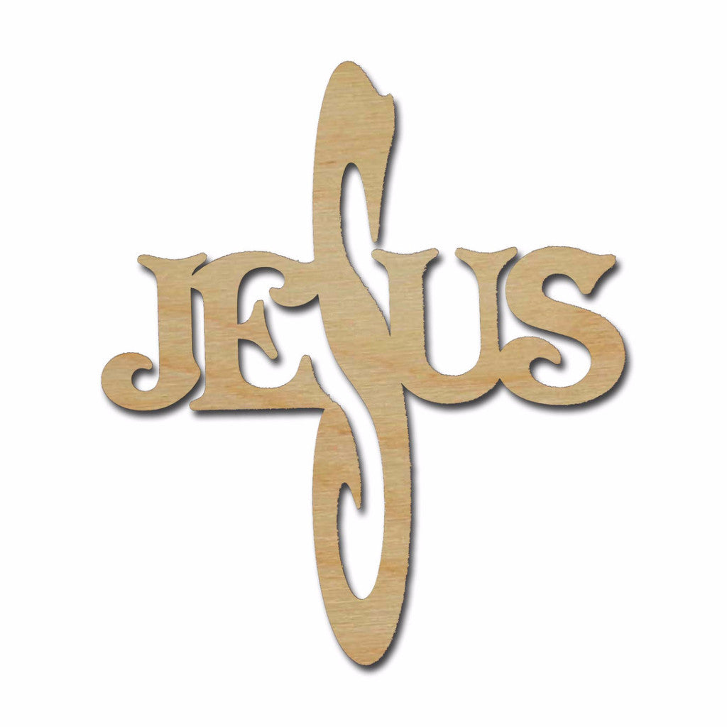 Jesus Unfinished Wood Cross Cutout Variety of Sizes C111 style 2