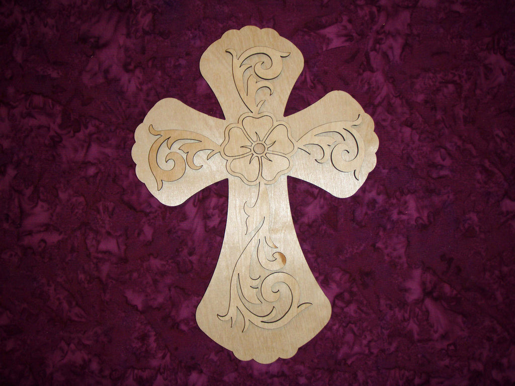 Wood Cross With Flower Inlay Unfinished Wooden Stacked Western Crosses LC11-143