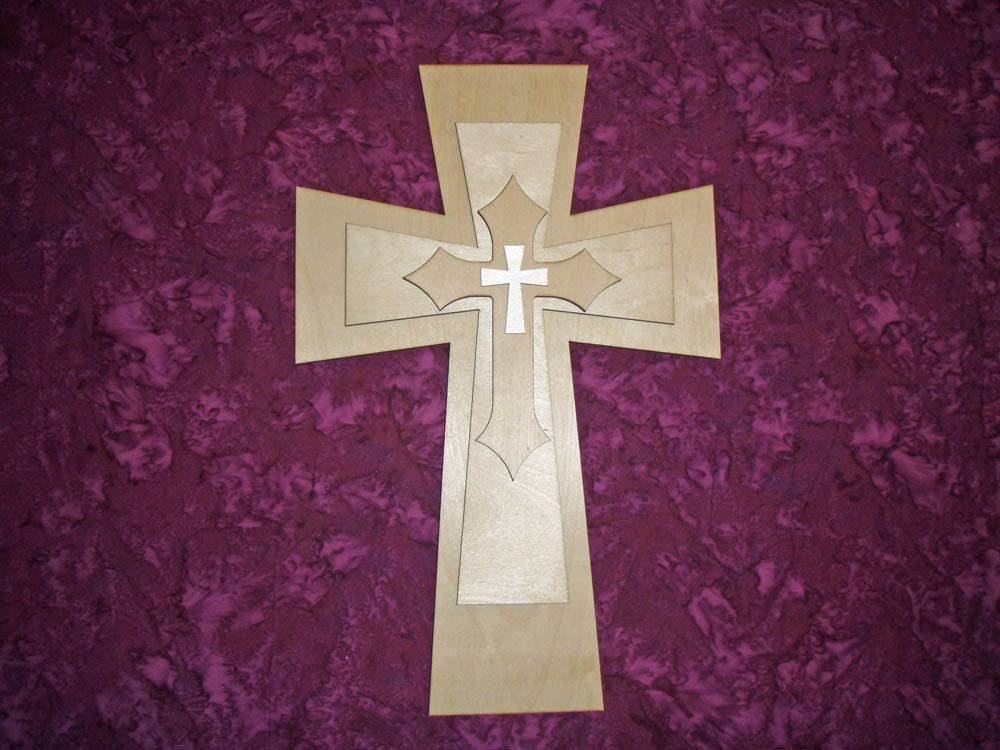 "Layered Unfinished Wood Cross Set 15"" Inch Tall LC15-200"
