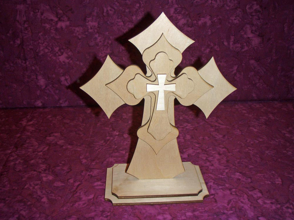Standing Wood Cross Layered Unfinished Wooden Crosses Stacked Part LCS11-1502