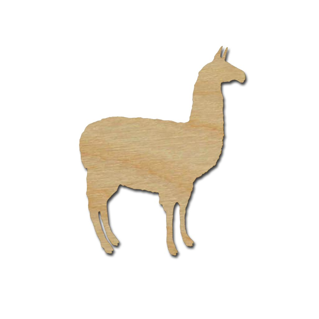 Llama Shape Unfinished Wood Cutouts Alpaca Crafts Variety of Sizes