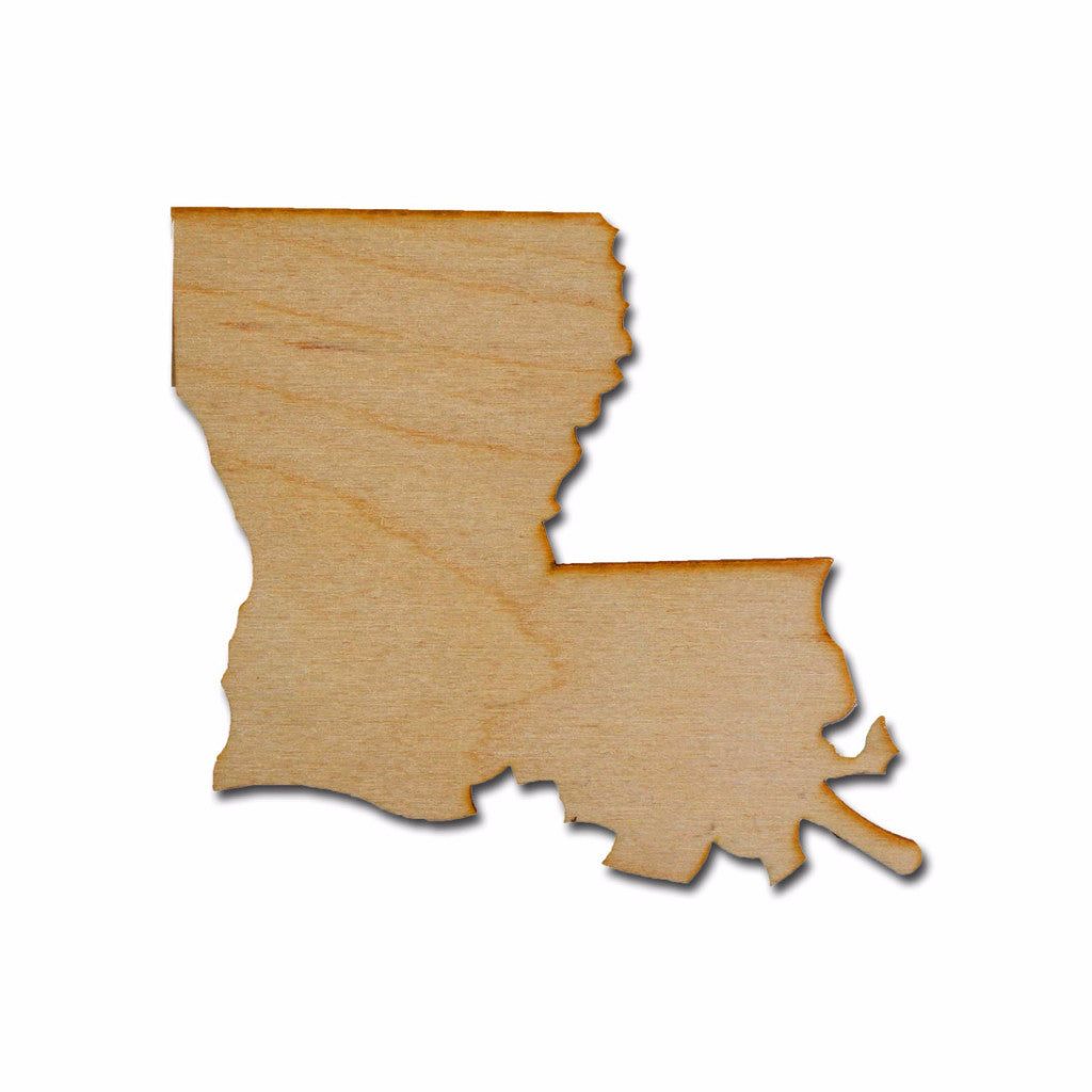 Louisiana State Shape Unfinished Wood Craft Cut Out Variety Of Sizes Made In USA