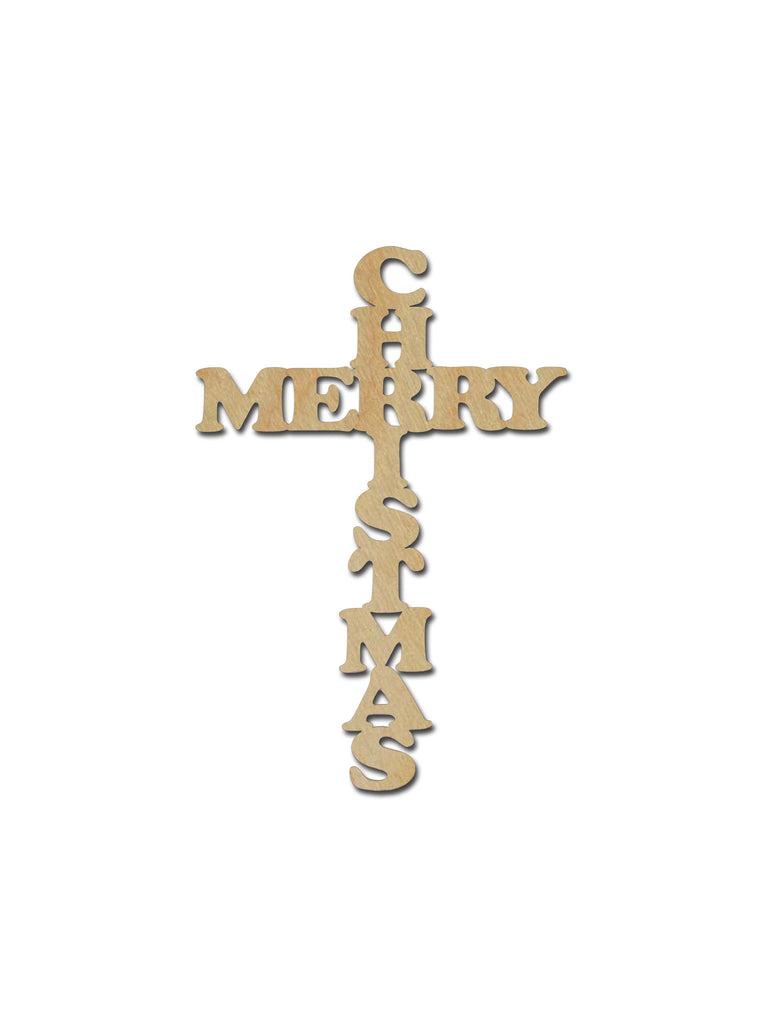 Merry Christmas Cross Unfinished Wood Crosses Variety of Sizes