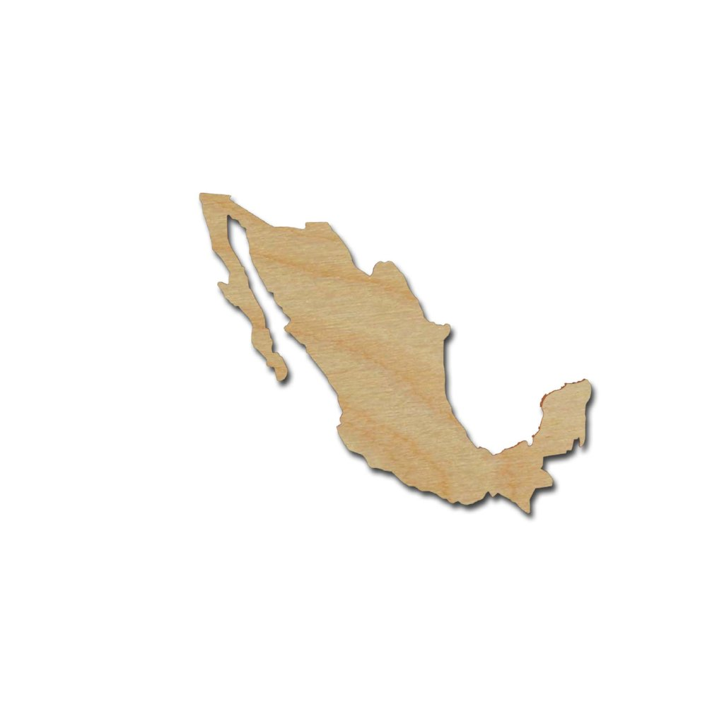 Mexico Country Shape Unfinished Wood Cutout Variety of Sizes