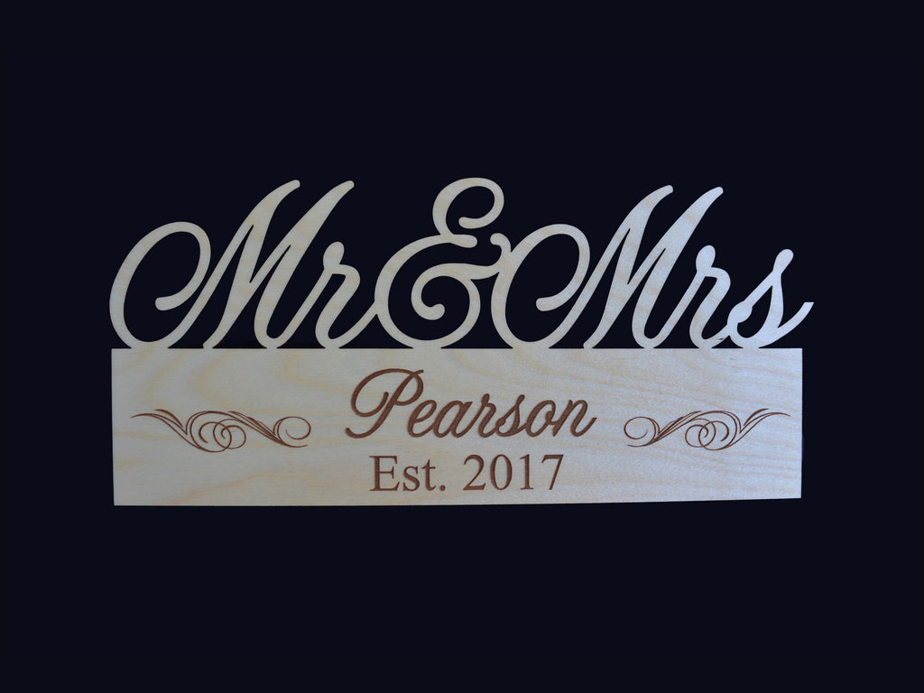 Mr & Mrs Family Name Engraved Wood Sign