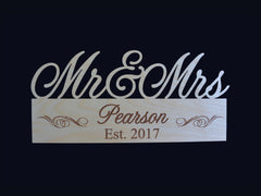 Mr & Mrs Wedding Wood Sign