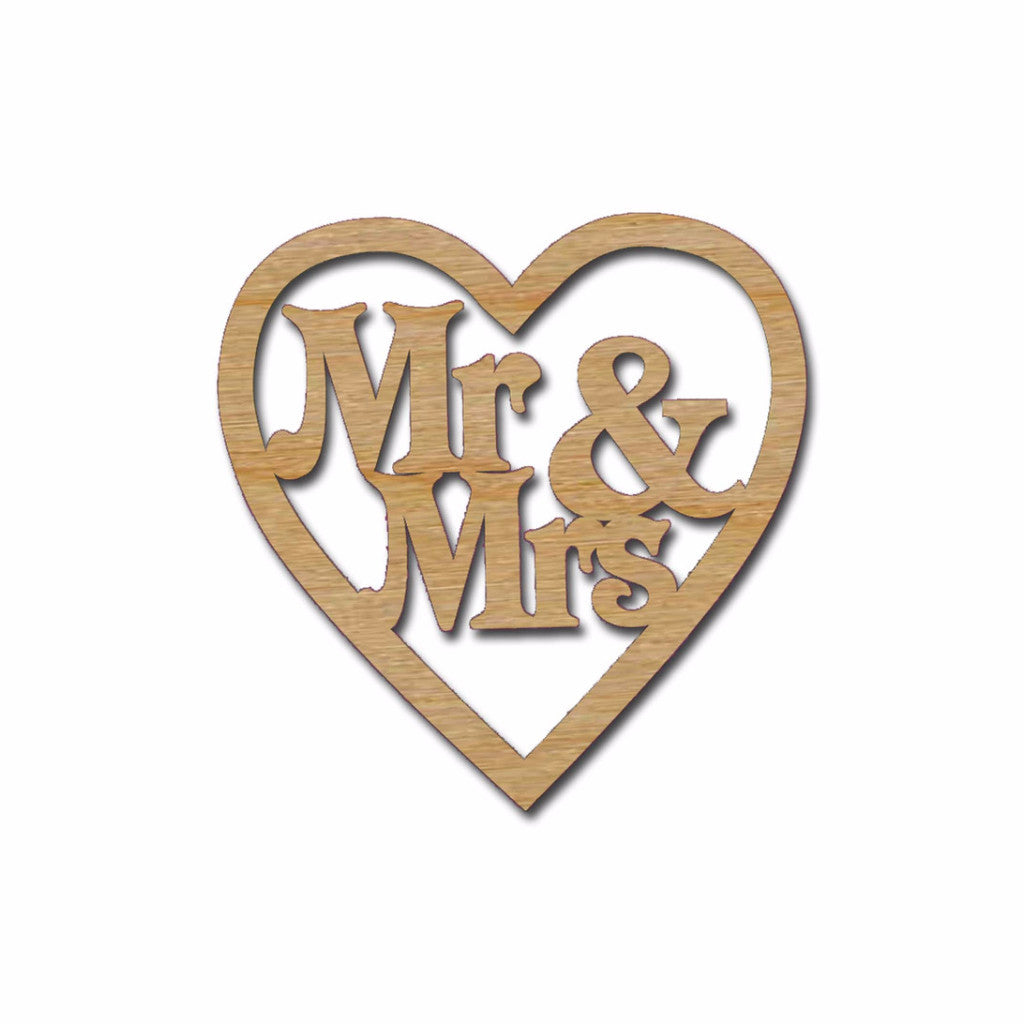 Mr & Mrs in Heart Unfinished Wood Wedding Decorations Artistic Craft Supply