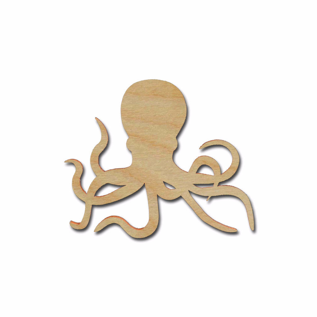 Octopus Shape Unfinished Wood Sea Life Craft Cut Outs Variety of Sizes