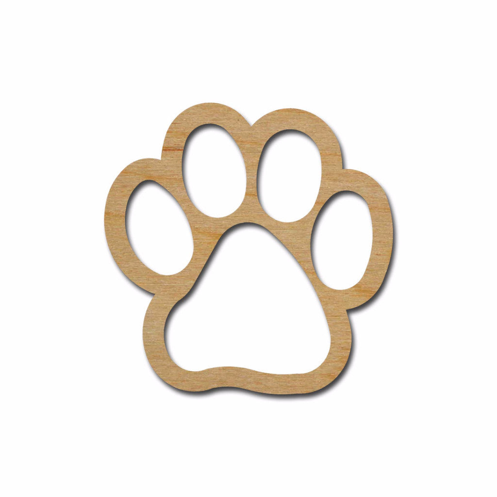 Paw Print Shape Cutout Unfinished Wood Crafts Variety of Sizes
