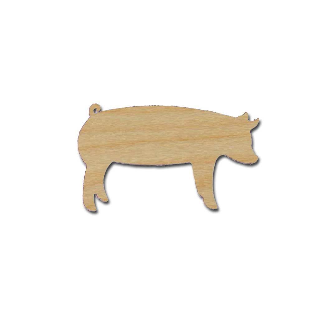 Pig Shape Unfinished Wood Animal Cutouts Variety of Sizes