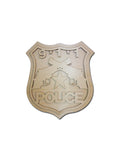 Police Badge Unfinished Wood Cutout