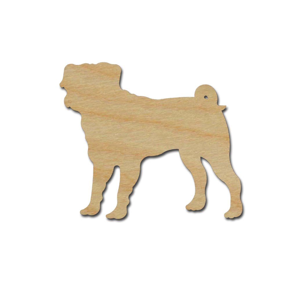 Pug Dog Shape Unfinished Wood Cutouts Animal Crafts Variety of Sizes
