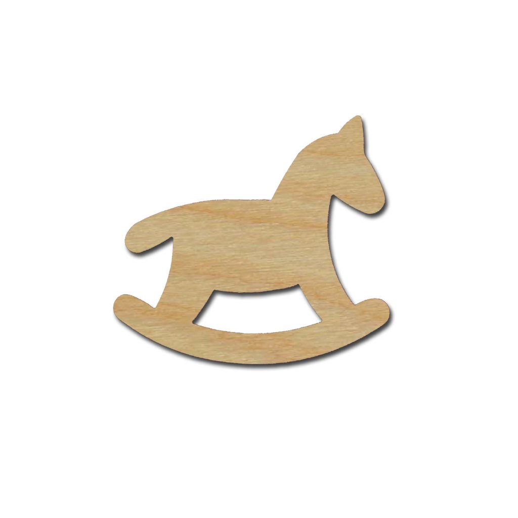 Rocking Horse Wood Cutout Unfinished DIY Craft Shapes