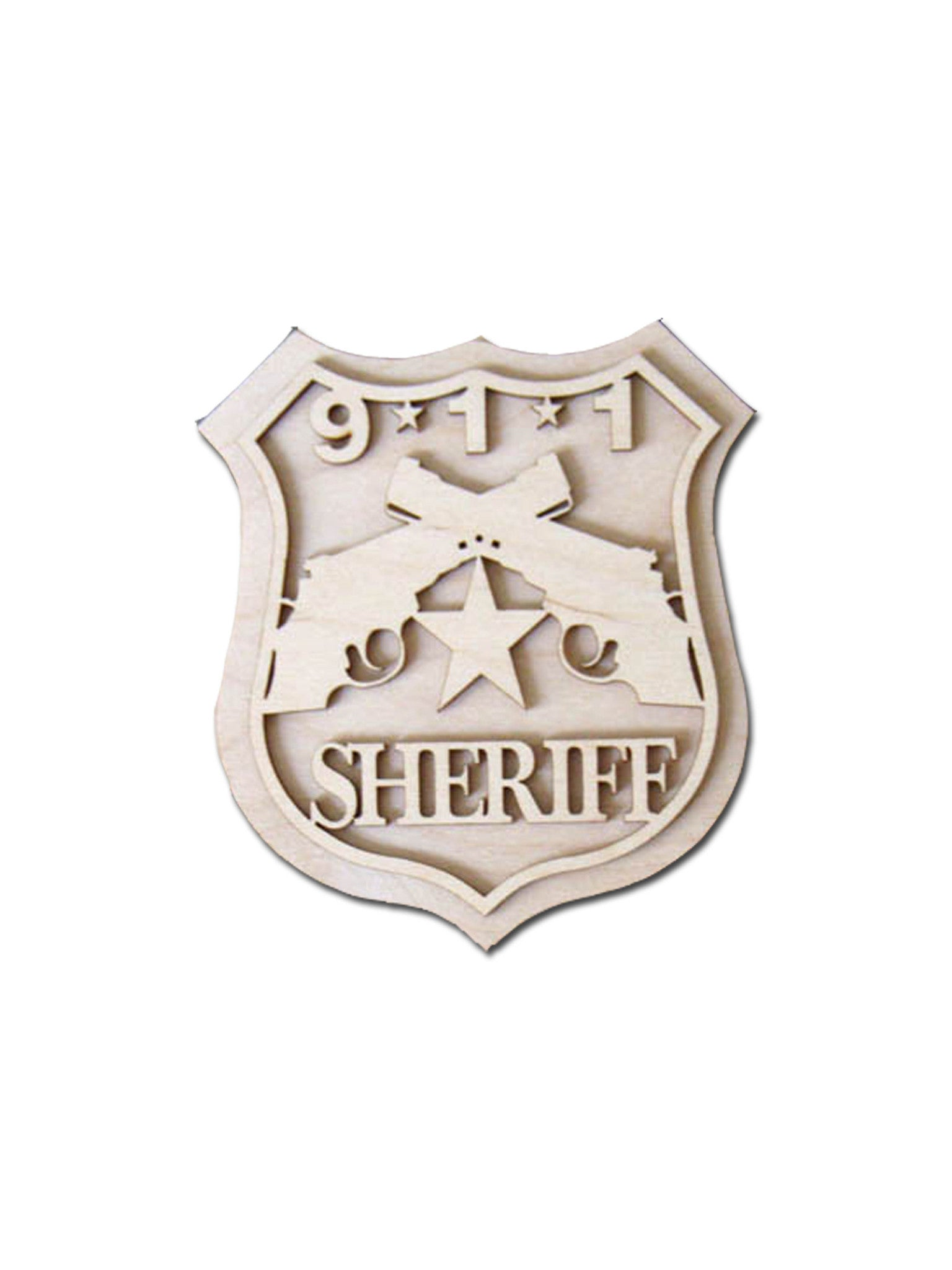 Sheriff Badge Unfinished Wood Cutout