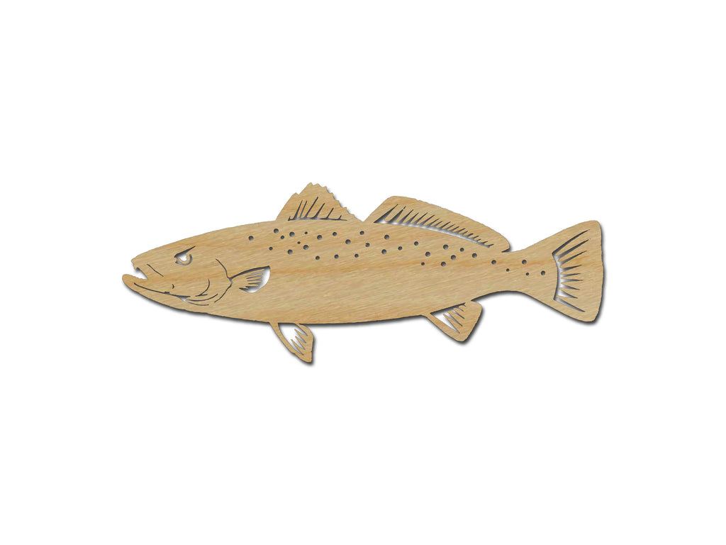 Speckled Trout Fish Shape Wood Cut Out Unfinished Wooden Sea Life Shapes