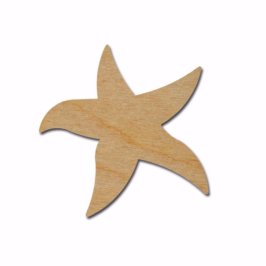 Starfish Shape Unfinished Wood Cut Out Beach Theme Variety Of Sizes