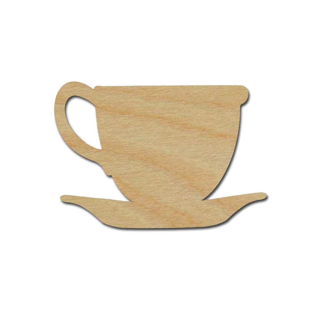Tea Cup Shape Unfinished Wood Craft Shapes Variety of Sizes