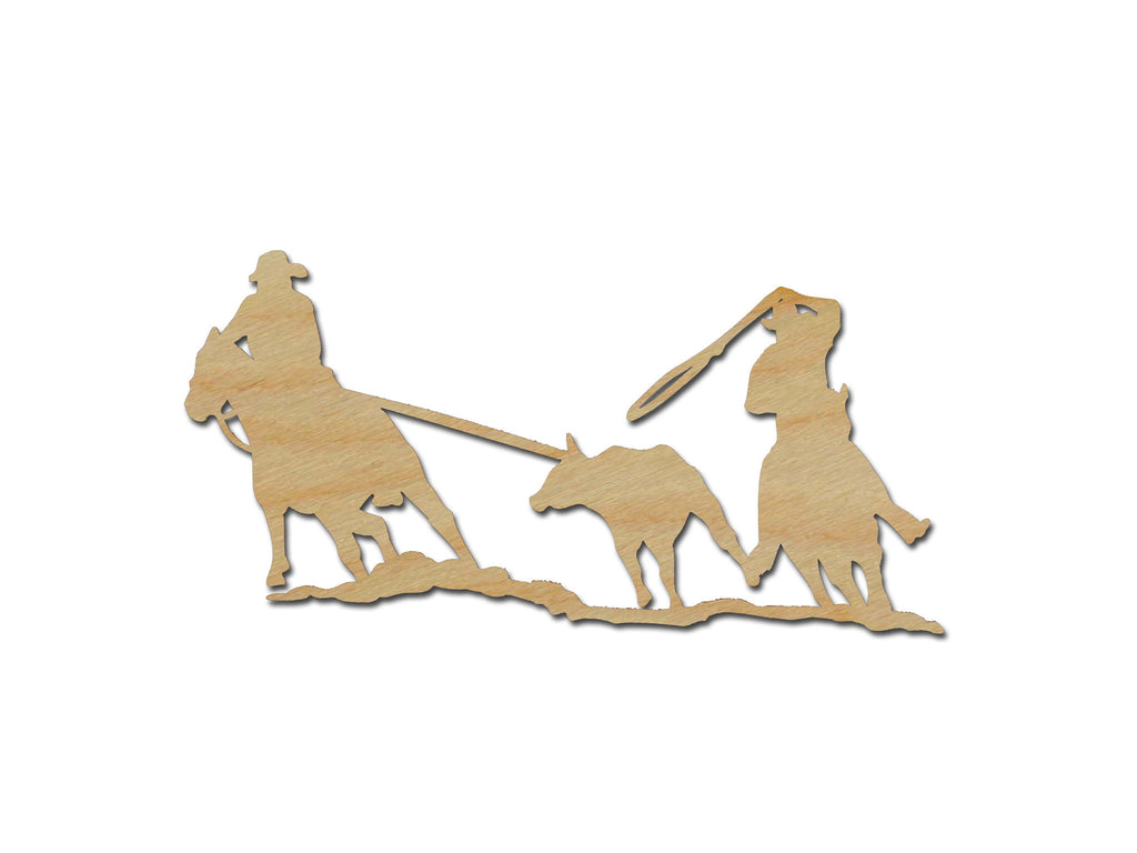 Team Roping Cowboy Wood Cut Out Unfinished Wooden Western Shapes